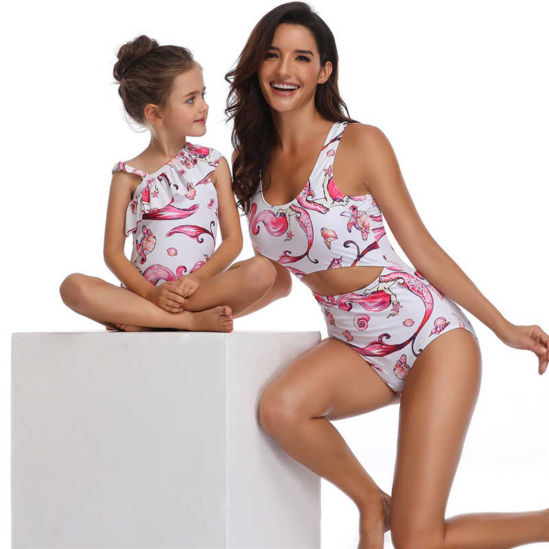 adb88e0585ca5 ... Mother Daughter Swimsuits Family Look Mom and Daughter Swimwear Mermaid Family  Matching Bathing Suit Mommy and ...