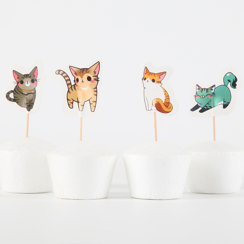 24pcs Cartoon <font><b>cats</b></font> theme Food Cake <font><b>Cupcake</b></font> <font><b>Topper</b></font> Kids Birthday Party Decoration Supplies Wedding Party Decoration image