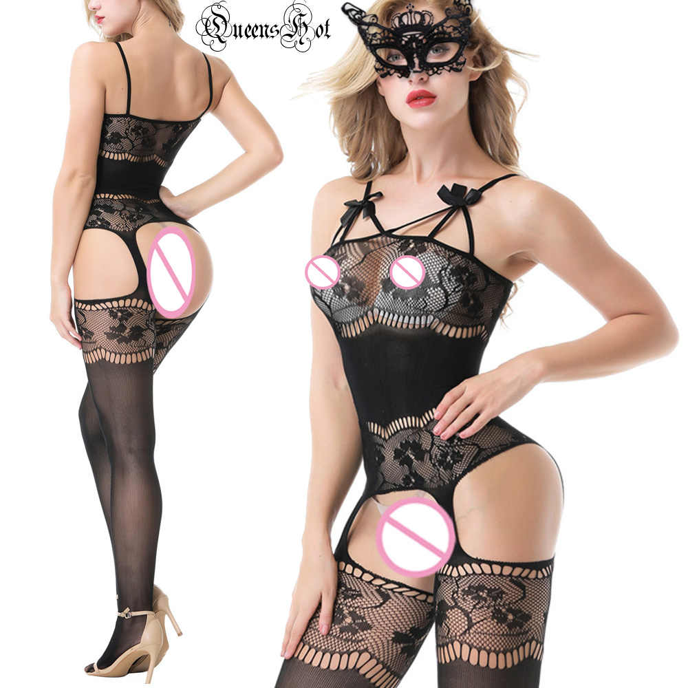 Sexy Erotico Hot Bowknot Della Cinghia di Giarrettiera A Rete Floreale Cut-out Bodystocking Tuta Babydoll In Lattice Catsuit Collant Corsetto Pole Dance