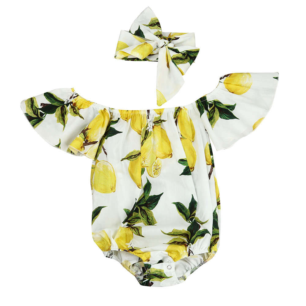 KLV Infantil Baby Girl Romper Headband Set Newborn Baby Clothes Fly Sleeve Off Shoulder Lemon Print Bebe Jumpsuit Outfit Rompers 2017 floral baby romper newborn baby girl clothes ruffles sleeve bodysuit headband 2pcs outfit bebek giyim sunsuit 0 24m