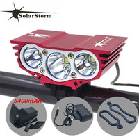 Free Shipping SolarStorm X3 3x CREE XM L U2 4 Modes LED 6000LM Front Bicycle Bike