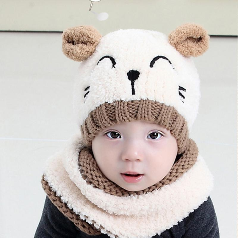 Winter Warm Children Hats Skullies Baby Kids Boy Girls Hat with Scarf Set Cute Infant Baby Knitted Hats Cartoon Cat Beanies Caps autumn winter beanie hat knitted wool beanies cap with raccoon fox fur pompom skullies caps ladies knit winter hats for women