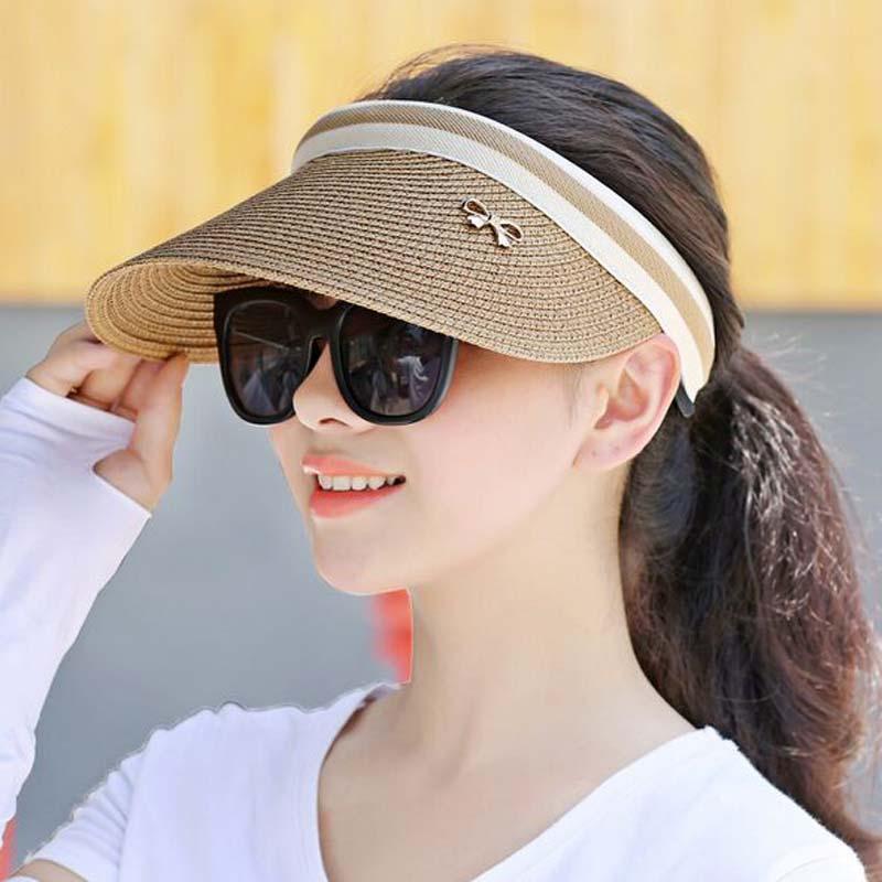 Cute Bow Sun Hat Women Topless Beach Hat Wide Brim Straw -2365