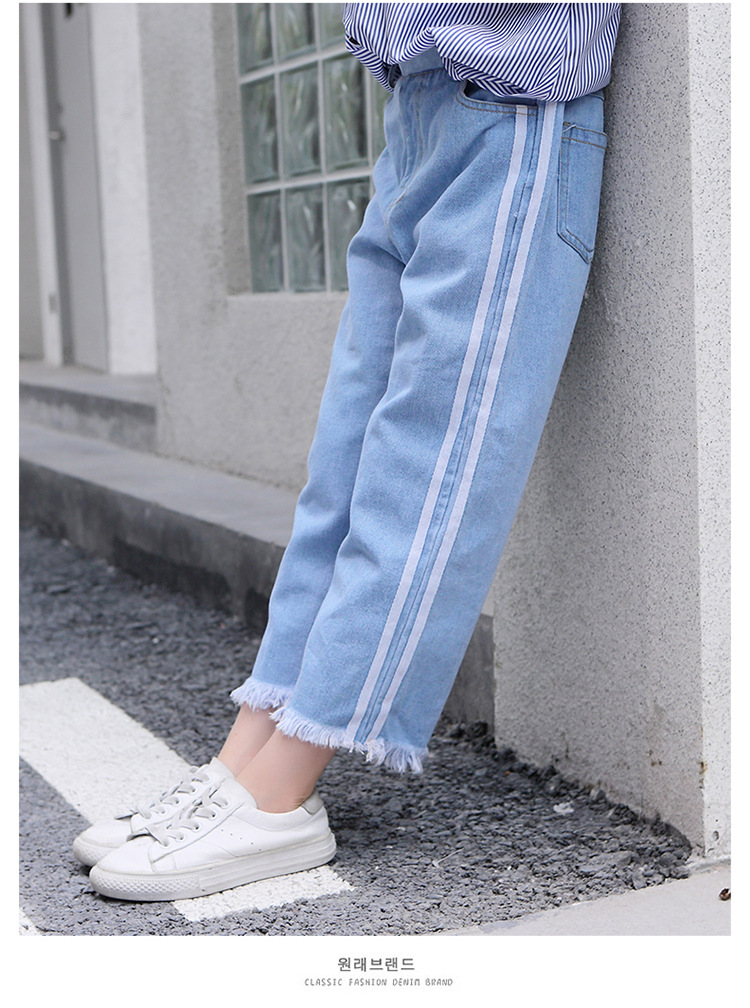 Girls 4-12 Years Spring Autumn Jeans Denim Loose Pants Casual Fashion Raw Edges Side Double Stripes Elastic Waist Jeans Trousers 19