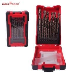 DRILLFORCE, broca de cobalto HSS-CO de 25 uds. Para brocas de Metal endurecido y acero inoxidable, juego de brocas de perforación de 1,0 ~ 13mm, Accesorios de herramientas eléctricas