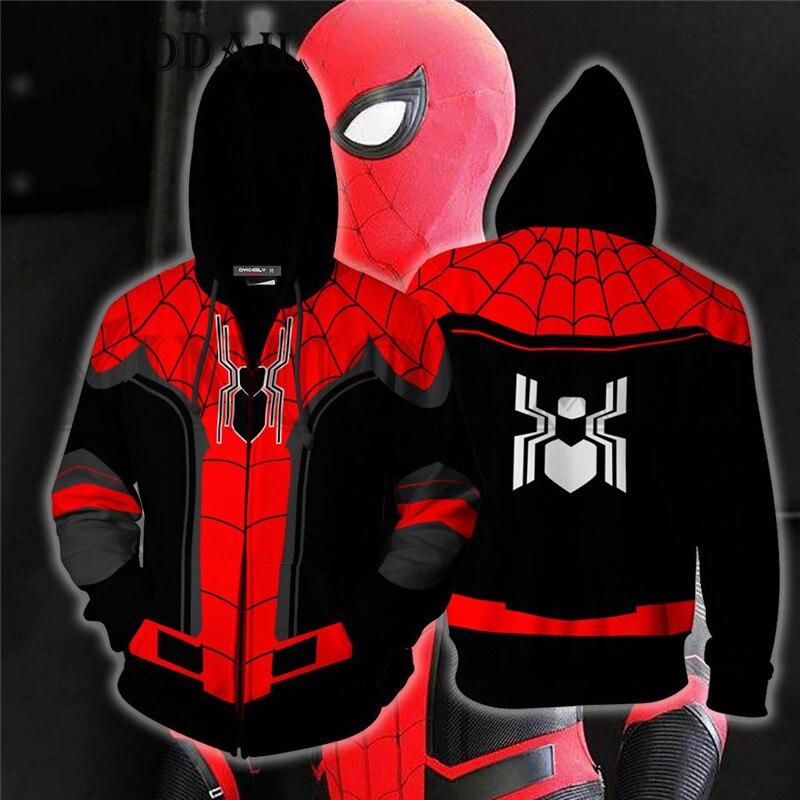 New Marvel Movie Spiderman Hoodies 3D Print Avengers 3 Infinite War Cos Super Hero Collection Hooded ZIP Hoodie