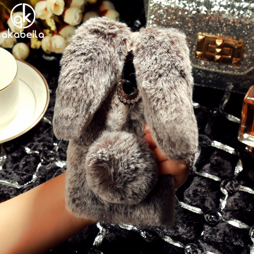 Fluffy Rabbit Fur Silicon Phone Case For Xiaomi Redmi 4 Pro Redmi 4 Prime 16BG 3GB