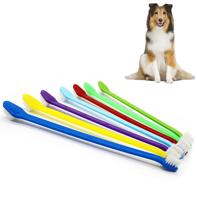 22cm Long Handle Finger Brush For Pet Dog Cat Healthy Two Heads Toothbrush 2pcs Teeth Cleaning Pet Cat Dog Tooth Brush for Dogs image