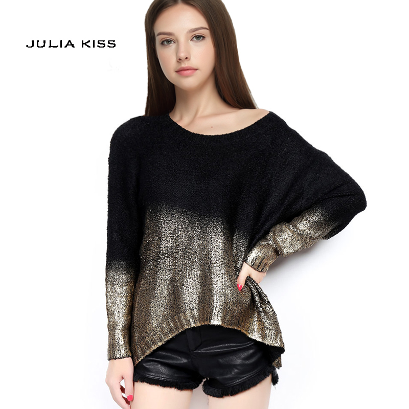 6ab77cf2d6 2015 New Winter Fashion Stylish Gold Hot Stamping Loose Long Sleeve Knitted  Sweaters For Women Graduated Colors Pullovers