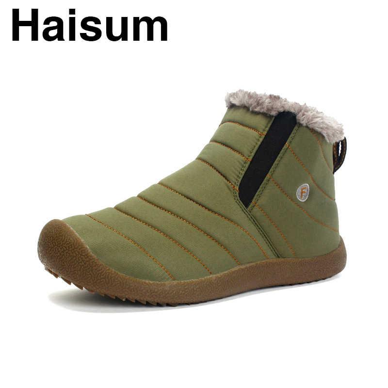 Erkek ayakkabıları kaymaz sıcak kar botları artı kadife su geçirmez pamuklu ayakkabılar kürk H-6811