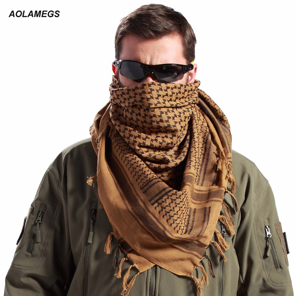 Tactical Scarves Militær Windproof Winter Scarf Mænd Muslim Hijab Tactical Shawl Keffiyeh Halstørklæder 100% Cotton Scarf Unisex