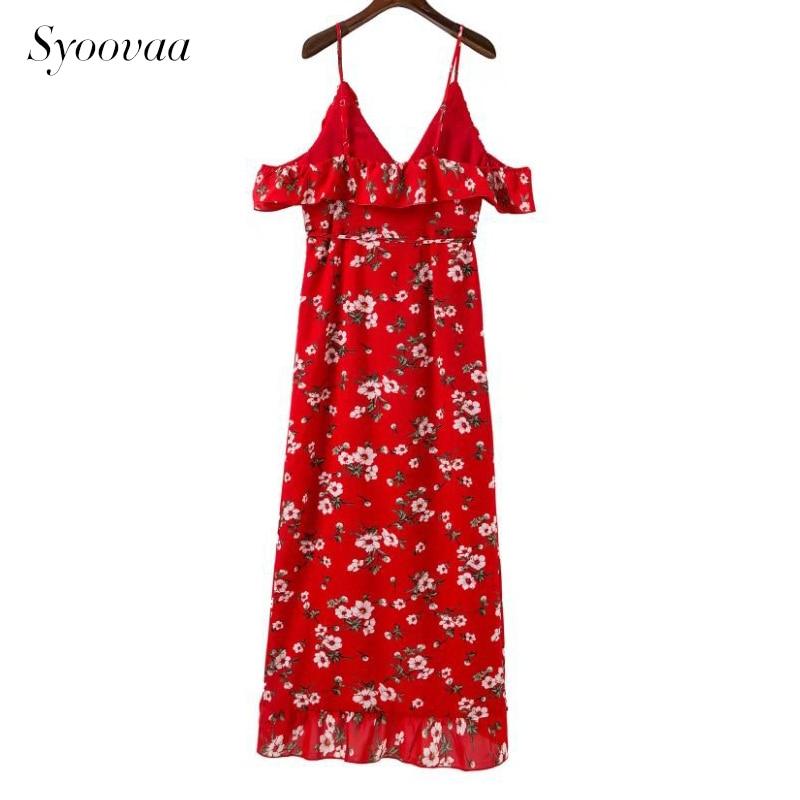 d4b04c9facec Syoovaa Red Floral Print Wrap Ruffles Midi Dress Women Strap V Neck Split  Beach Summer Dress Sexy Asymmetrical Dresses SD935427-in Dresses from  Women's ...