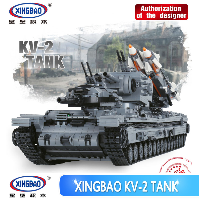 XingBao 06006  Creative MOC Military Series The KV-2 Tank Set children Educational Building Blocks Bricks Toys Model Gifts in stock new xingbao 01101 the creative moc chinese architecture series children educational building blocks bricks toys model