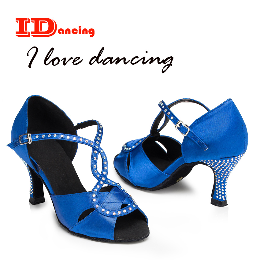 Rhinestone Dance Shoe Female Salsa Shoes Calzado Mujer Sexy High Heel Black And Blue Comfortable Shoes Cross Straps JuseDanc