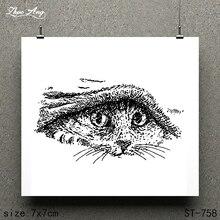 ZhuoAng Cute Cat Design Stamp / Scrapbook Rubber Craft Clear Card Seamless