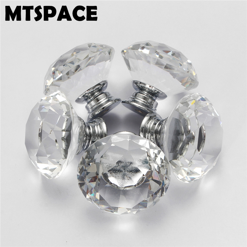 MTSPACE Noble 8pcs/Set 40mm Clear Crystal Glass Diamond Cut Door Knobs Kitchen Cabinet Drawer Knobs + Screw Home Decorating mtgather 8pcs 40mm clear crystal glass diamond cut door knobs kitchen cabinet drawer knobs screw home decorating