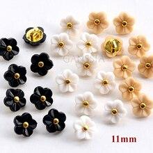 20 шт./лот Размер: 11 мм кавайный цветок 5 цветов пуговицы из горного хрусталя для рубашек Скрапбукинг аксессуары пластиковая кнопка(SS-738