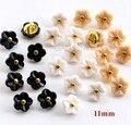 50 pçs/lote Tamanho: 11mm flor Kawaii 5 cores botões de Strass botões para botões de camisa botão Scrapbooking acessórios de Plástico (SS-738)