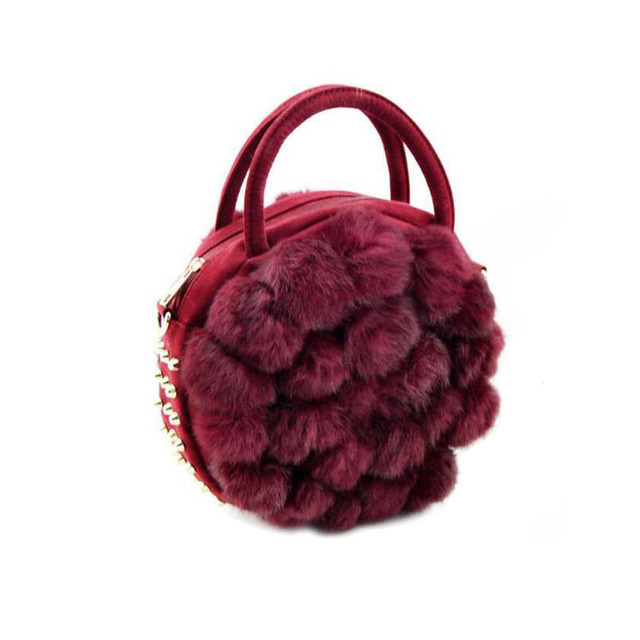 2017 Winter Portable Female Rabbit Fur Bag Maomao Round Ball Cute Little Bag Red Purple Grey Shoulder Bag ZD421