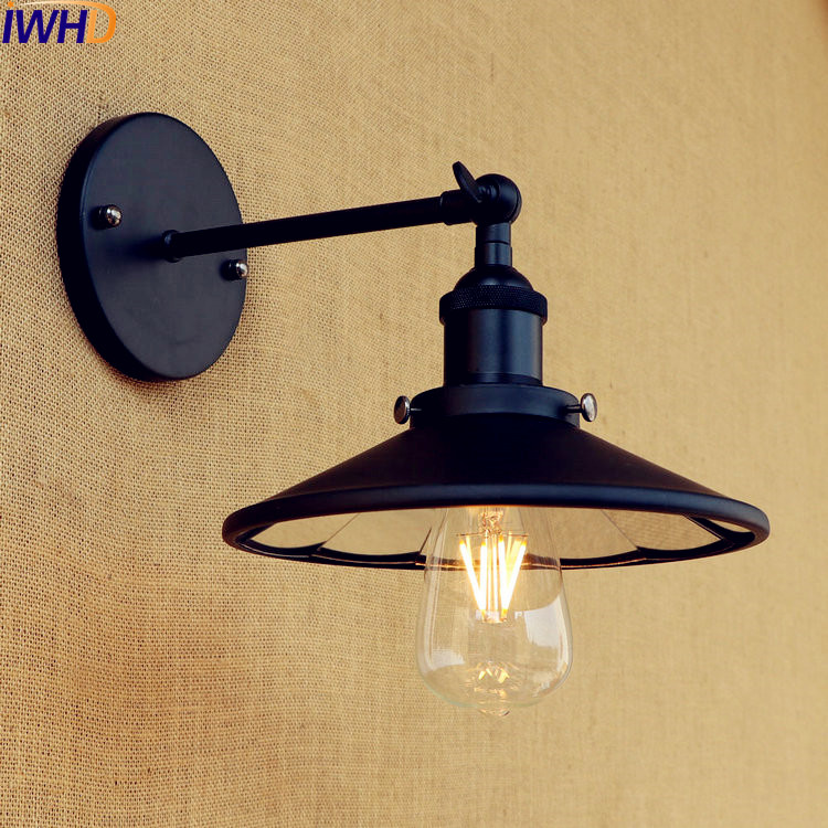 Iwhd Loft Industrial Retro Wall Lights Fixtures Bedroom Living Room Antique Edison Style Lighting Black Wall Sconce Vintage Lamp Led Indoor Wall Lamps