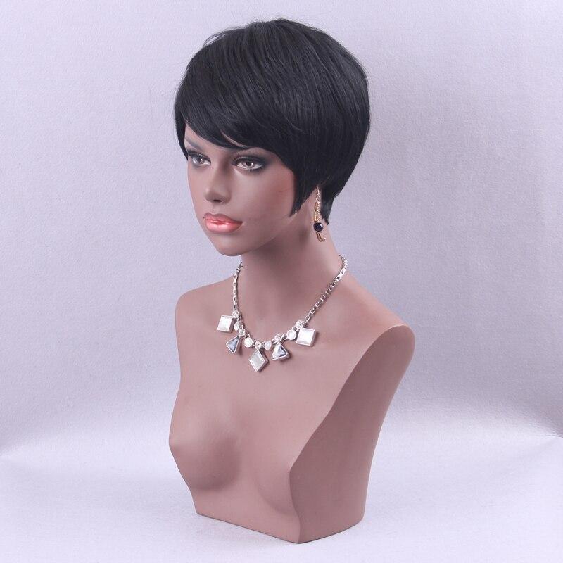 Element Pixie Cut Black Paryk Blandning Natural Hair Short Hair - Syntetiskt hår - Foto 3