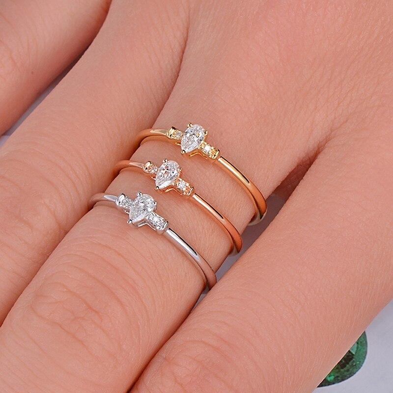 купить Caimao Solid 14KT Gold Natural 0.10ct H VS2 Pear Shape Diamond Engagement Exquisite Small Ring по цене 15789.02 рублей