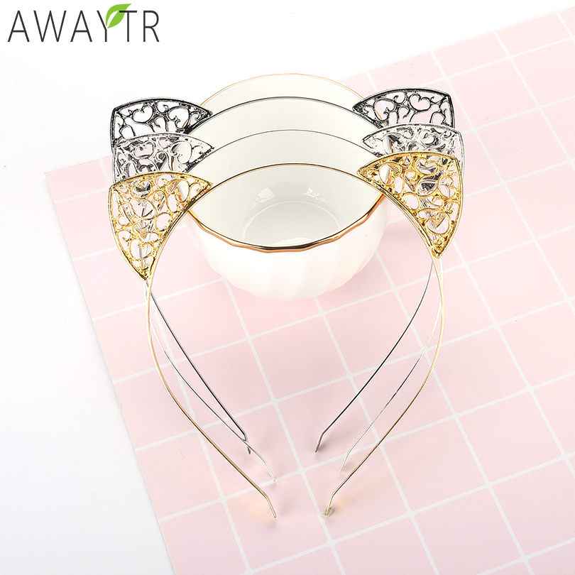 Kids Party   Headwear   Hollow Cat Ear Crown Tiara Hairband Elastic Headbands Hair Hoops Girls Cat's ears Bezel Hair Accessories