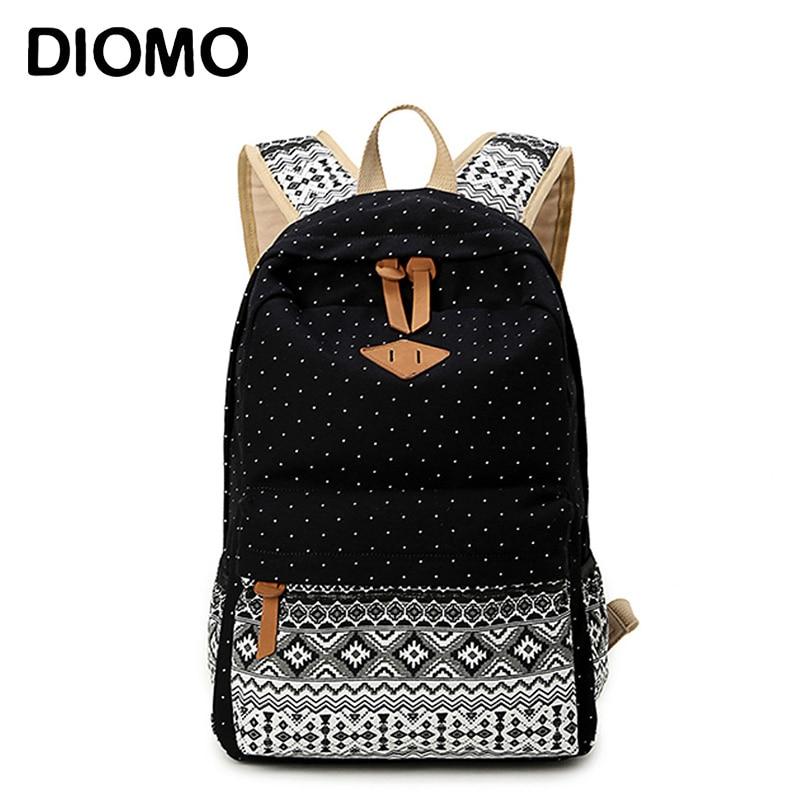 DIOMO Backpacks School-Bags Feminine-Bagpack Female Girls High-Quality Canvas Teenage
