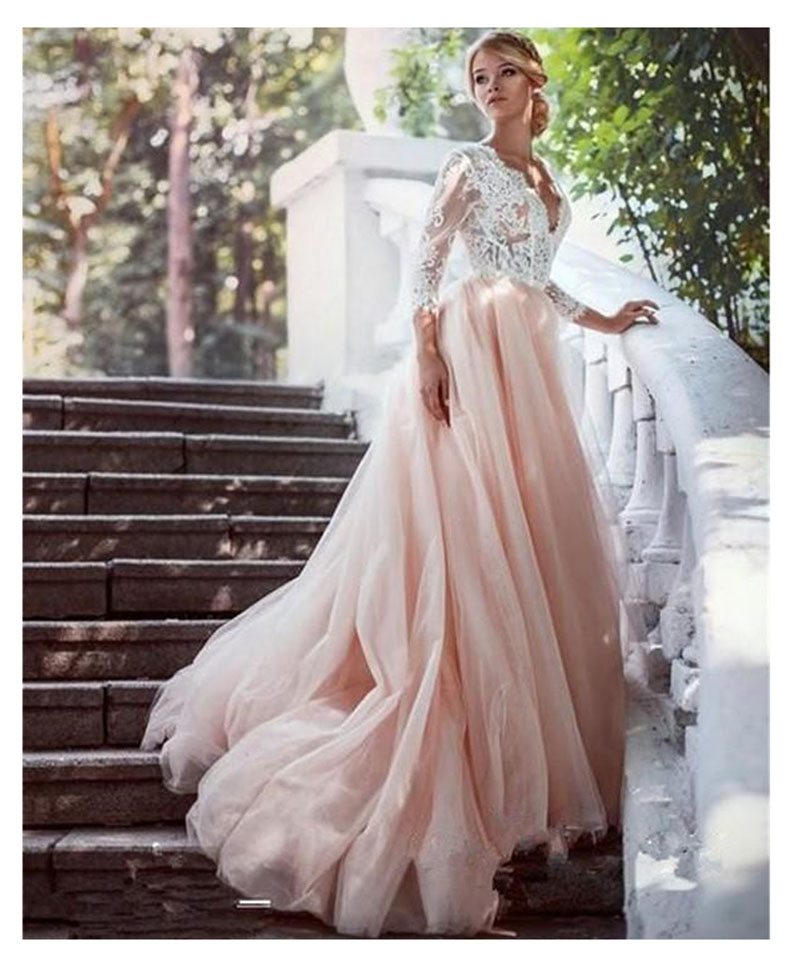 SoDigne Top Lace Appliques Wedding Dresses 2019 New Design Backless Bride Dress Long Train Dress White Ivory Wedding Gowns in Wedding Dresses from Weddings Events