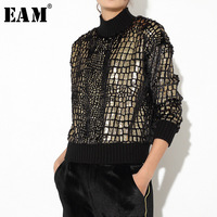 [EAM] 2019 New Spring Winter Stand Collar Long Sleeve Pattern Patch Loose Metal Color Personality Sweatshirt Women Fashion JL174