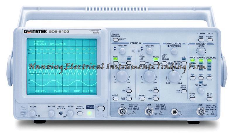 Arrivée rapide TaiWan Gwinstek 100 MHz 2 canaux analogique Oscilloscope GOS-6103C
