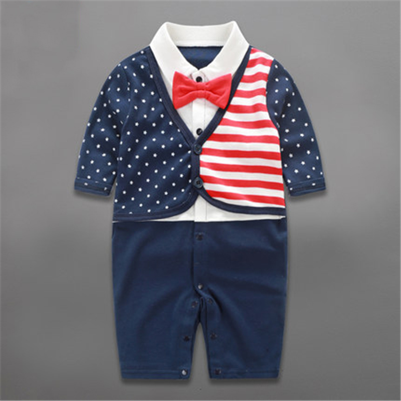 2018 Baby Rompers Spring Baby Boy Clothes Gentleman Newborn Clothes Cotton Baby Boy Clothing Roupas Bebe Infant Baby Jumpsuits 1