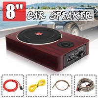 600W 8 Inch Wooden Ultra thin Car Stereo Subwoofer Car Audio Car Speaker Universal Speaker Subwoofer Auto Under Seat Enclosure
