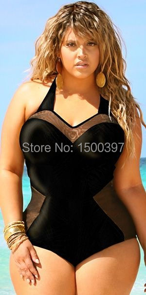c8701ffdb46f2c Plus Rozmiar XL-XXL Kobiety Czarny Jeden Kawałki Stroje Kąpielowe  Biustonosz Usztywniany, Mesh Sheer