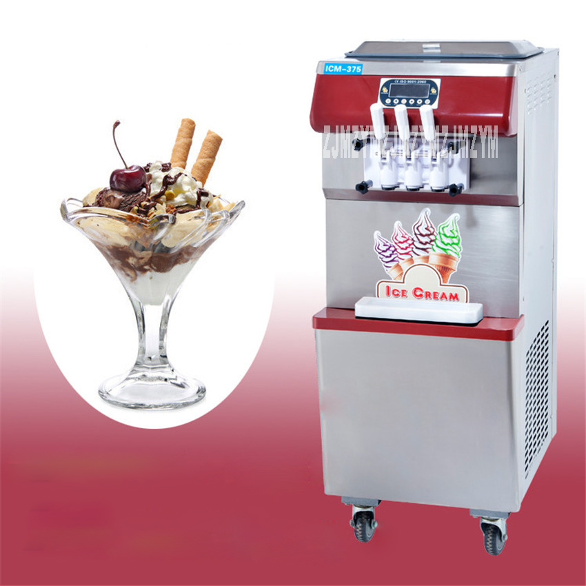 ICM-375 2200W Commercial Floor-standing Soft Ice Cream Maker 3Heads Flavor Graceful Red Pink Color Softy Ice Cream Makers 1.8L*2