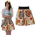 2016 de primavera y verano de las mujeres de bohemia Floral de cintura alta falda corta del busto