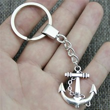 Fashion Key Ring Metal Chain Keychain Jewelry Gift 2 Colors Antique Bronze Silver Plated Anchor 30x27mm Pendant
