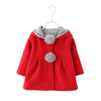 2017 Autumn Winter Baby Girls Infants Kids Ball Cute Rabbit Hooded Princess Jacket Coats Outwears Christmas