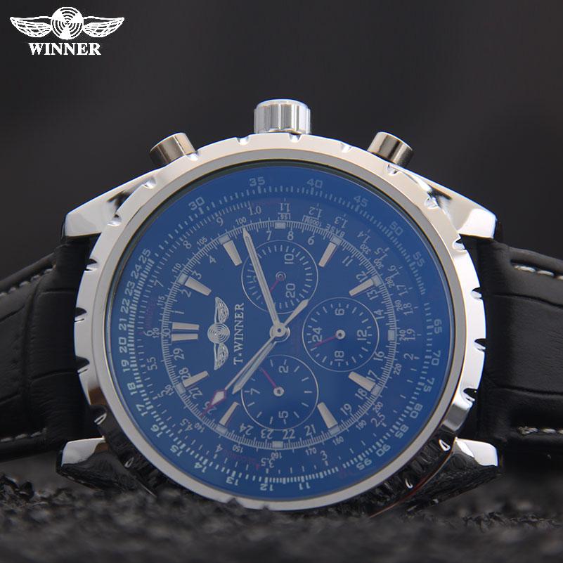 Prix pour Hommes mécanique montres marque VAINQUEUR hommes automatique 6 mains bracelet en cuir montres date automatique noir cadrans pour hommes mâle montres