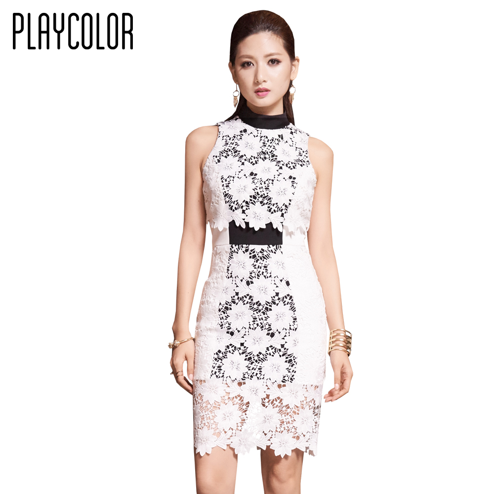 PLAYCOLOR White Lace High Neck Sleeveless Cocktailkleider Kurz 2017 ...