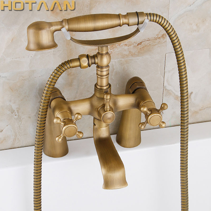 Free shipping Bathroom Bath Tub Faucet Hand Held Antique Brass Shower Head Kit Shower Faucet Sets YT-5347 free shipping led color changing black hand shower kitchen faucet replacement hand held shower