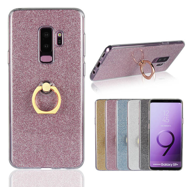 best service 85e02 f4cbb US $2.56 5% OFF|Luxury Silicon For Samsung Galaxy S9 Plus Case Transparent  Soft TPU Glitter Ring KickStand Phone Case For Samsung S9+ Slim Cover-in ...