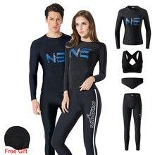 4 Pieces Snorkeling Wetsuit Men Rash Guard Long Sleeve Swimwear Women Diving Suit Surfing Swimsuit Rashguard Surf Clothes UPF50+