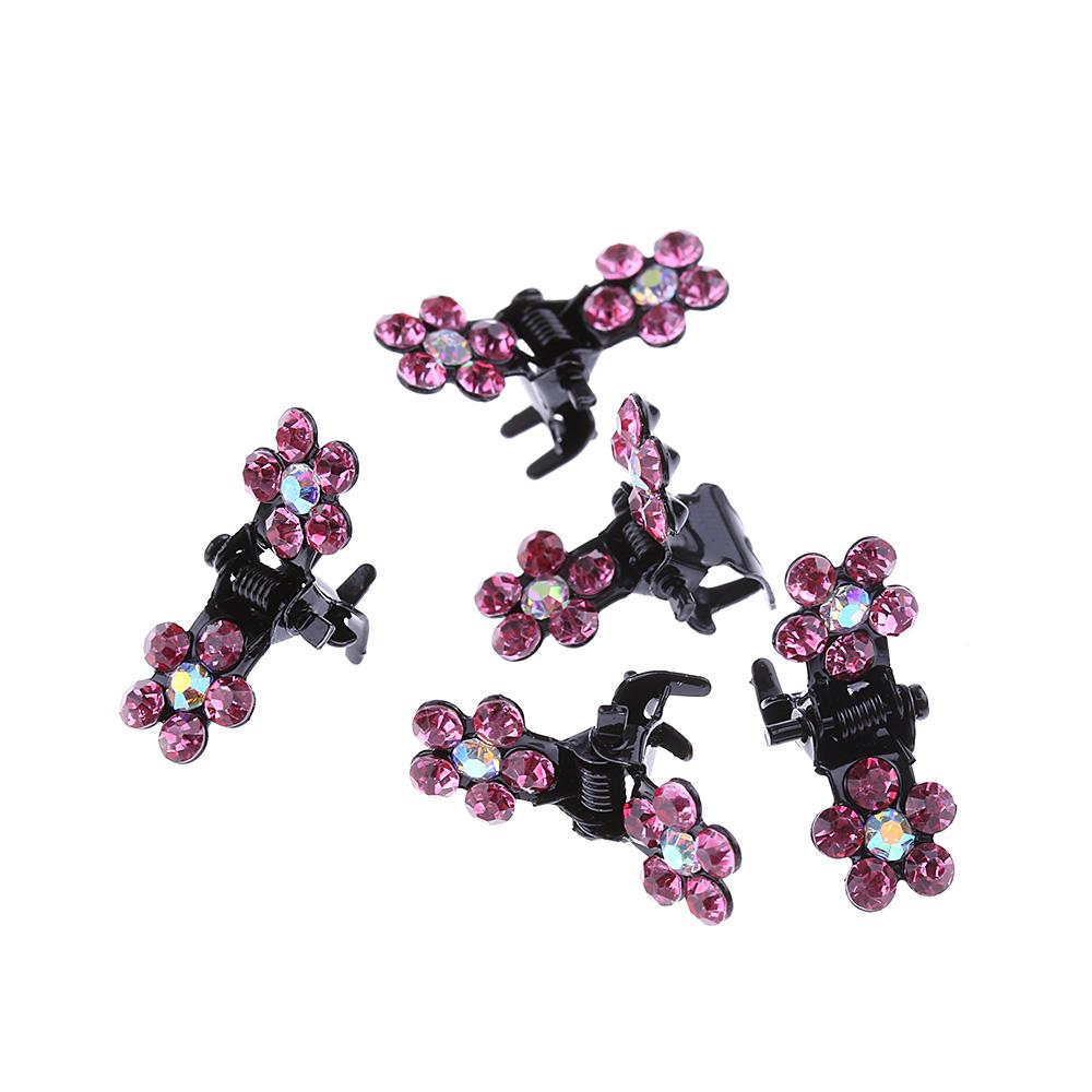 HTB11gV7QVXXXXcpXXXXq6xXFXXXZ Bejeweled 12-Pieces Rhinestone Crystal Flower Mini Barrette Hair Claw For Women - 7 Colors