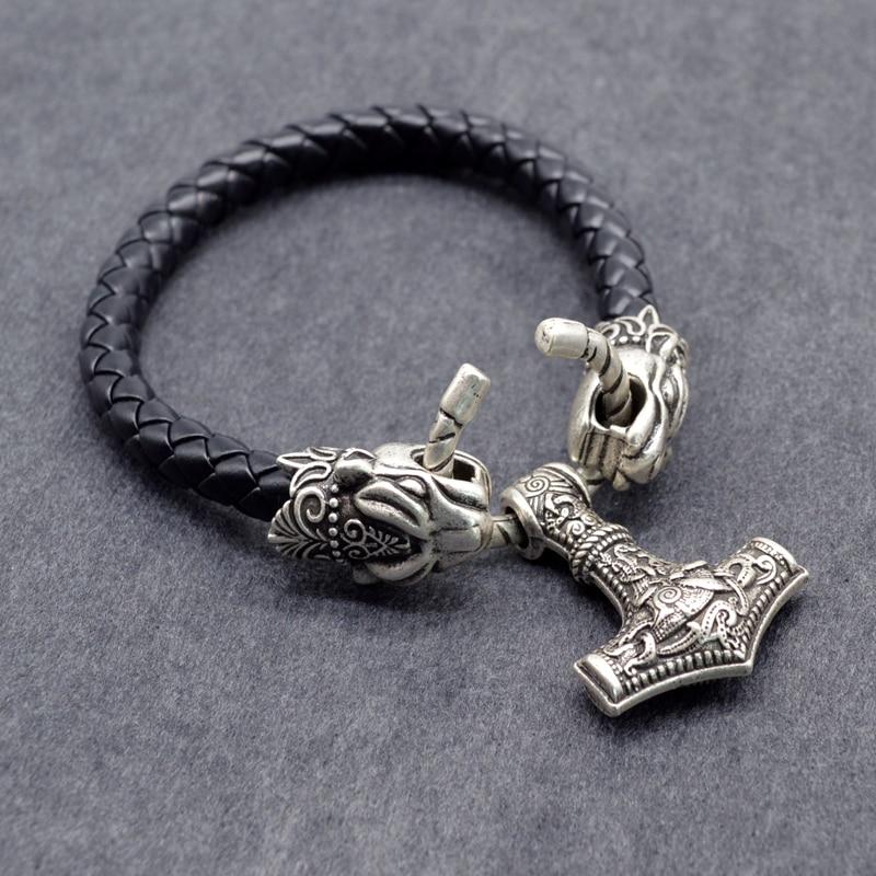 Thor Hammer Leather Mens Bracelet