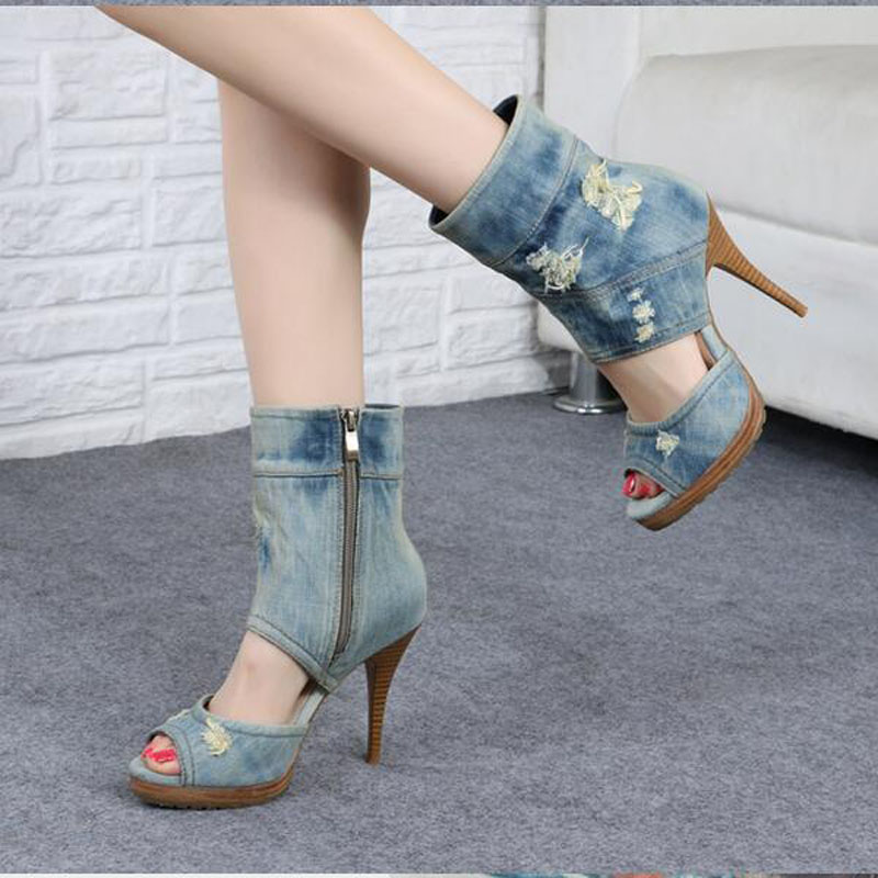 2017 New Arrival Denim Party Dress Shoes Women Peep Toe Holes High Heel Gladiator Botas Mujer Cut-outs Vintage Ankle Boots