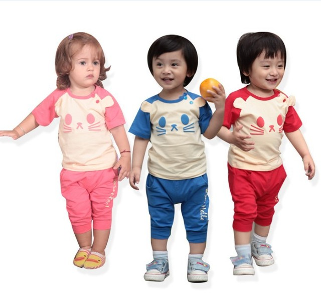 Wholesale Toddler clothes 3Colors Cotton Sports  Baby Boy&Baby Boy Summer Wear Short Sleeve Garment  Clothes Set Free Shipping