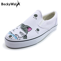 Hand Painted Cat Women And Men Sneakers Unisex Slip On Platform Shoes Low Top Plus Size