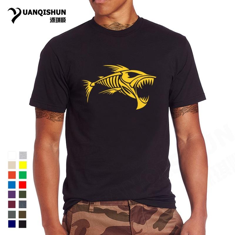 2018 New Skull Fish Bones   T  -  shirt   Fishings   T     shirt   Men Cotton Short Sleeve Men's O Neck Tops Tees 28 Color Boutique   T  -  shirt