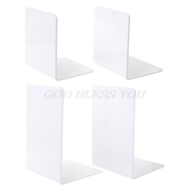 Office & School Supplies Able 2pcs White Acrylic Bookends L-shaped Desk Organizer Desktop Book Holder School Stationery Office Accessories Lustrous